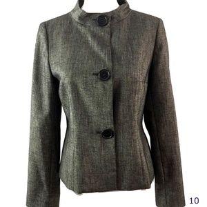 AK Anne Klein Black Gray Large Button Blazer Sz 6